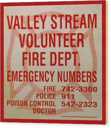 Valley Stream Fire Department Wood Print by Rob Hans