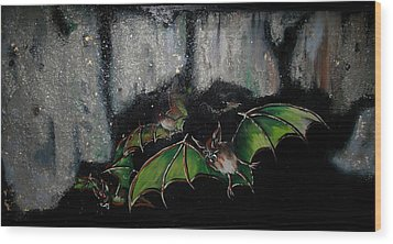 Wood Print featuring the painting Vampire Bats  by Nada Meeks