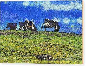 Van Gogh Goes Cow Tipping 7d3290 Wood Print by Wingsdomain Art and Photography