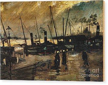 Van Gogh Le Quai Huile Sur Toile 1885  Wood Print by Pg Reproductions