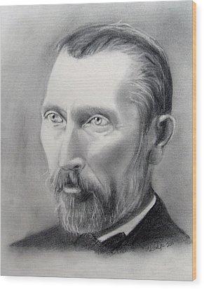 Van Gogh Pencil Portrait Wood Print by Andrea Realpe