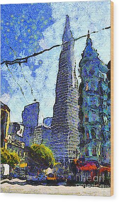Van Gogh Sips Absinthe And Takes In The Views From North Beach In San Francisco . 7d7431 Wood Print by Wingsdomain Art and Photography