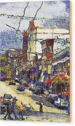 Van Gogh Takes The Right Turn And Rediscovers The Castro In San Francisco . 7d7572 Wood Print by Wingsdomain Art and Photography