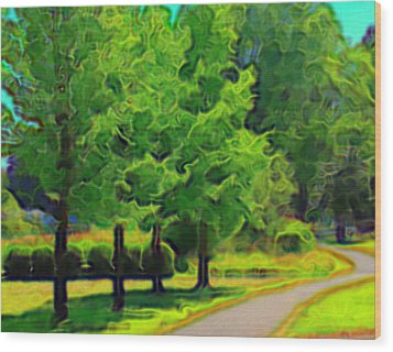 Wood Print featuring the mixed media Van Gogh Trees by Terence Morrissey