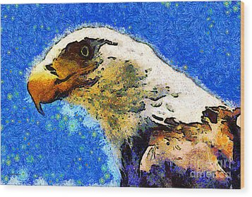Van Gogh.s American Eagle Under A Starry Night . 40d6715 Wood Print by Wingsdomain Art and Photography