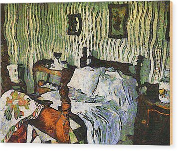 Wood Print featuring the painting Van Gogh's Bedroom by Mario Carini