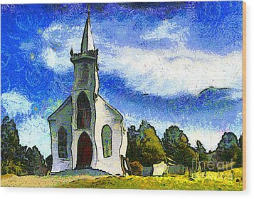 Van Gogh.s Church On The Hill 7d12437 Wood Print by Wingsdomain Art and Photography