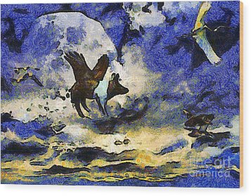 Van Gogh.s Flying Pig 2 Wood Print by Wingsdomain Art and Photography