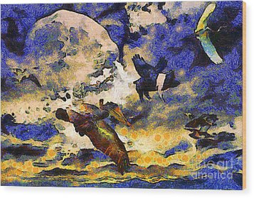 Van Gogh.s Flying Pig Wood Print by Wingsdomain Art and Photography