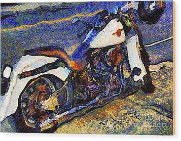 Van Gogh.s Harley-davidson 7d12757 Wood Print by Wingsdomain Art and Photography