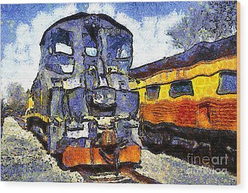 Van Gogh.s Locomotive . 7d11588 Wood Print by Wingsdomain Art and Photography
