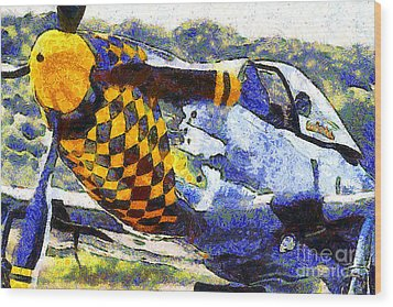 Van Gogh.s P-51 Mustang Fighter Plane . 7d15598 Wood Print by Wingsdomain Art and Photography
