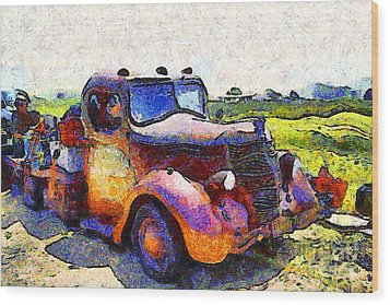 Van Gogh.s Rusty Old Jalopy . 7d15500 Wood Print by Wingsdomain Art and Photography
