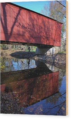 Wood Print featuring the photograph Van Sant Covered Bridge by Steven Richman