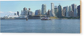 Vancouver Bc Skyline Canada Place Panorama Canada. Wood Print by Gino Rigucci