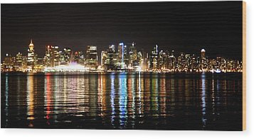 Wood Print featuring the photograph Vancouver Skyline At Night by JM Photography