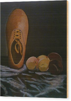 Vans And Peaches Wood Print by Haley Lightfoot