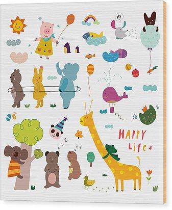 Various Animals Wood Print by Eastnine Inc.