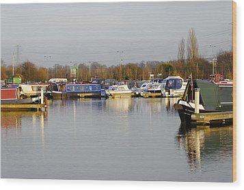 Various Boats At Barton Marina Wood Print by Rod Johnson
