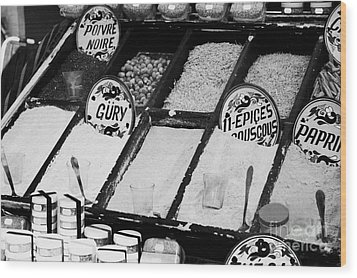 Various Spices Including Curry Black Pepper Couscous And Papricka On Stall At The Market In Nabeul Wood Print by Joe Fox