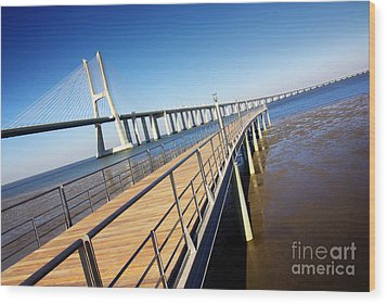 Vasco Da Gama Bridge Wood Print by Carlos Caetano