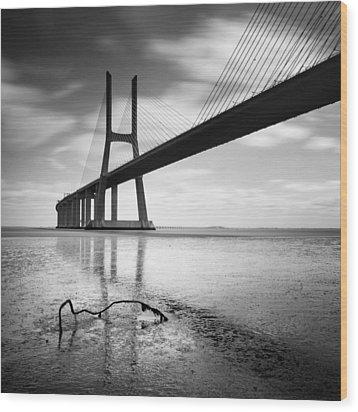 Vasco Da Gama Bridge I Wood Print by Nina Papiorek