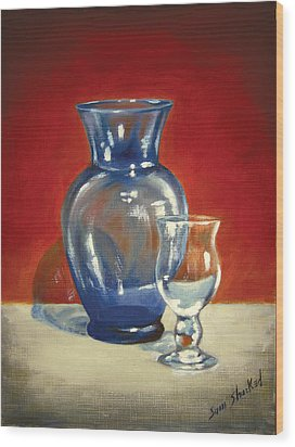 Vase N Glass Goblet Wood Print by Sam Shacked