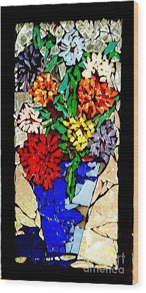 Vase Of Flowers Wood Print by Brenda Marik-schmidt