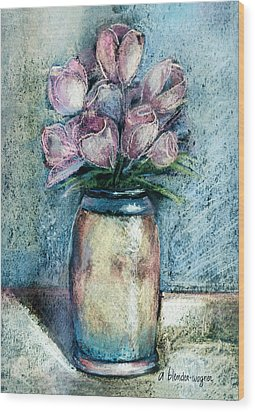 Vase Of Pink Tulips Wood Print by Arline Wagner