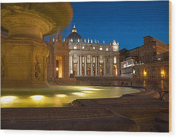 Vatican At Blue Hour Wood Print by Stavros Argyropoulos