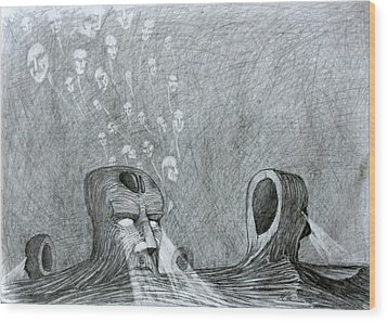 Wood Print featuring the drawing Vault Of Souls by Mariusz Zawadzki