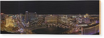 Vegas Strip From Eiffel Tower Wood Print by Metro DC Photography