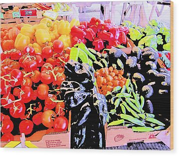 Vegetables On Display Wood Print by Kym Backland