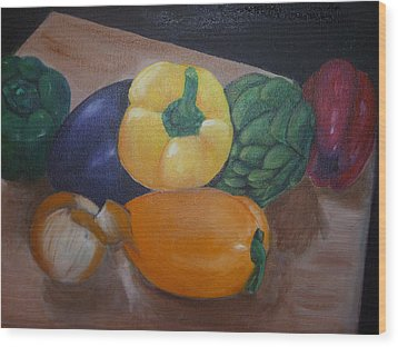 Veggies In Waiting Wood Print by Mary Dunn