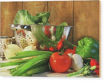 Veggies On The Counter Wood Print by Sandra Cunningham