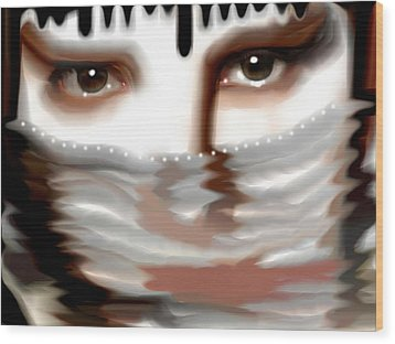 Wood Print featuring the painting Veiled Sadness by Susan  Solak