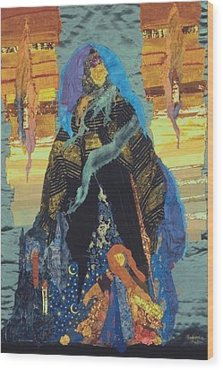 Veiled Woman With Spirit Child Wood Print by Roberta Baker