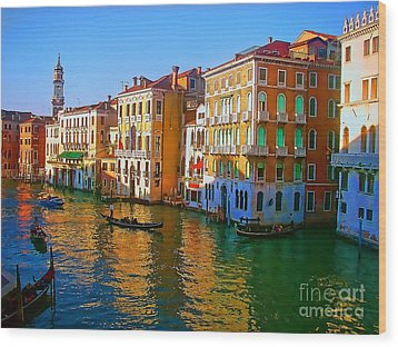 Venice - Central Canal Wood Print by Jerry L Barrett