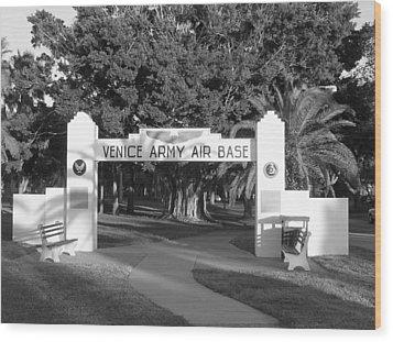 Venice Army Air Base Entrance Wood Print by John Myers