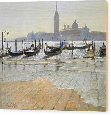Venice At Dawn Wood Print by Timothy Easton