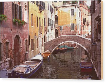 Venice Bridge Over A Small Canal. Wood Print by Tom Wurl