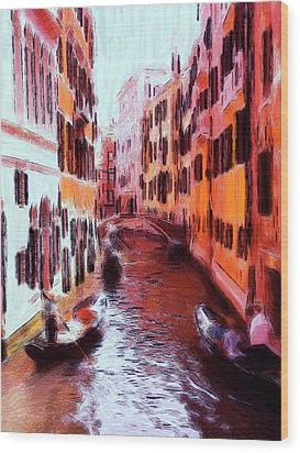 Venice By Gondola Wood Print by Steve K