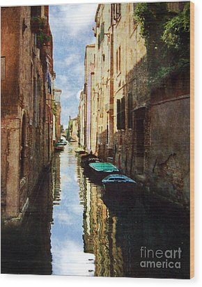 Wood Print featuring the photograph Venice Canal by Deborah Smith