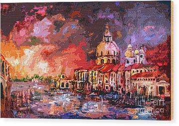 Venice Canal Italy  Wood Print by Ginette Callaway