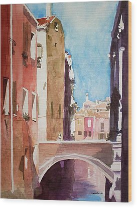 Wood Print featuring the painting Venice Canal by Richard Willows