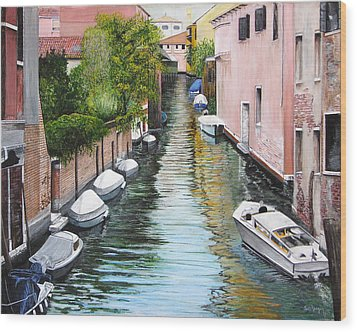 Wood Print featuring the painting Venice Canal by Stuart B Yaeger