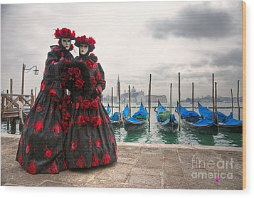 Wood Print featuring the photograph Venice Carnival Mask by Luciano Mortula