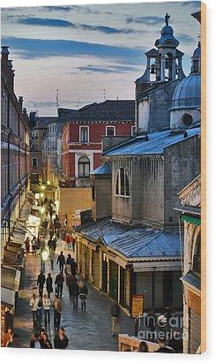 Venice From Ponte Di Rialto Wood Print