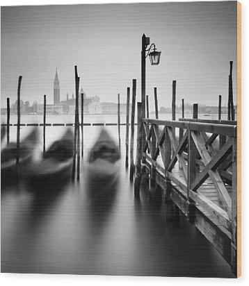 Venice Gondolas II Wood Print by Nina Papiorek