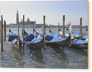 Wood Print featuring the photograph Venice Gondolas by Rebecca Margraf